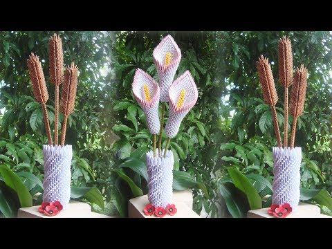How To Make 3D Origami Flower Vase V8 | DIY Paper Flower Vase Home Decor