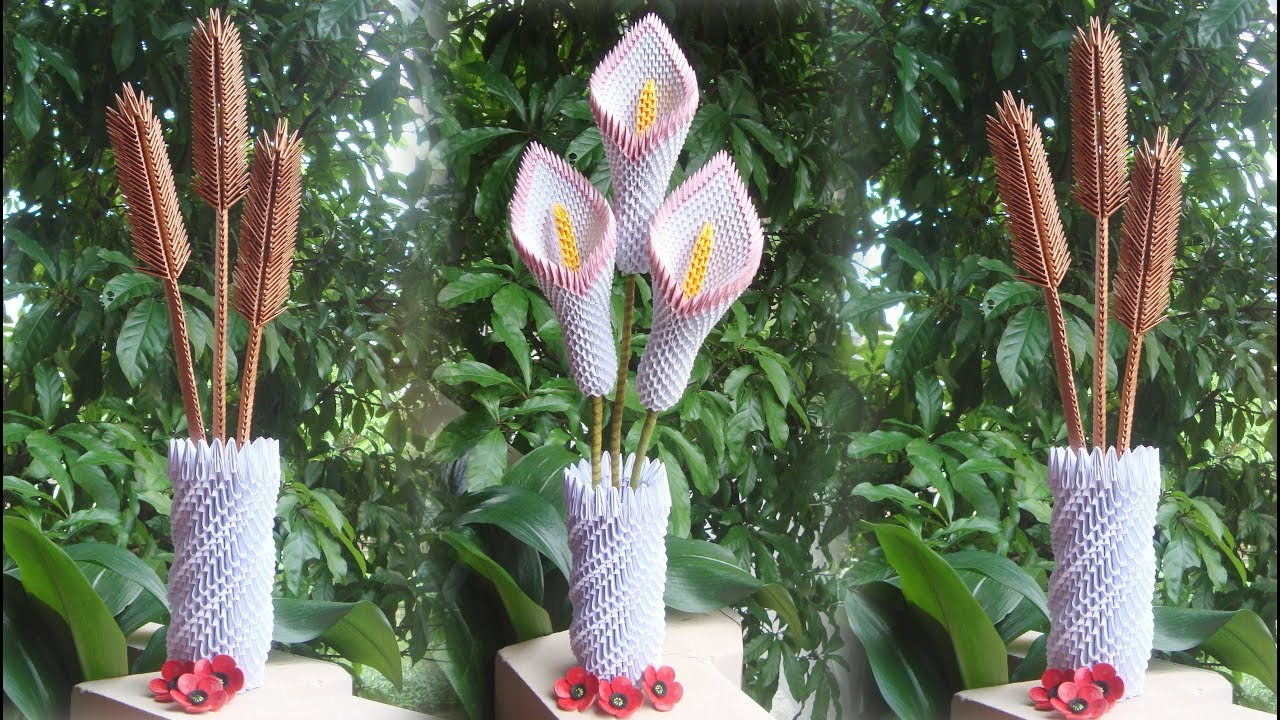 How To Make 3d Origami Flower Vase V8 Diy Paper Flower Vase Home