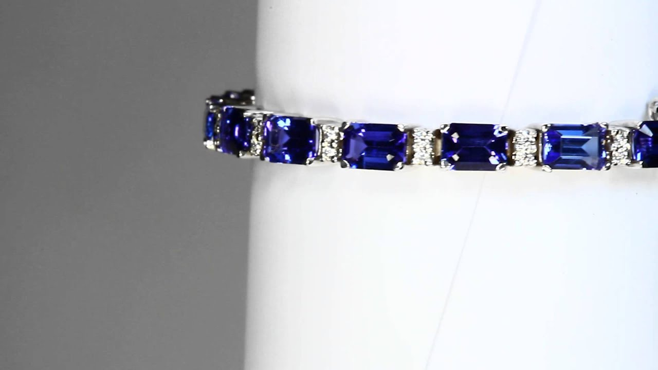 tanzanite white in diamonds gold with bracelet tw