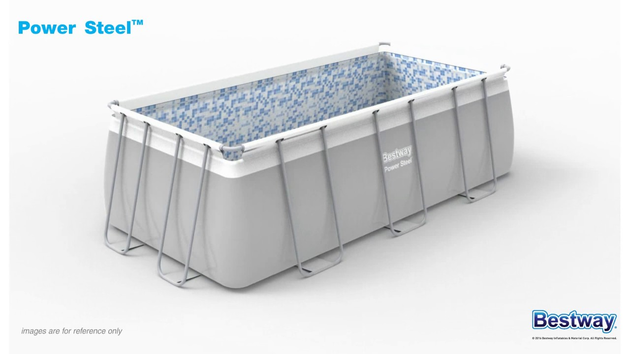 bestway power steel rectangular pool 404 x 201 x 100 cm - youtube
