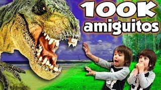DINOSAURIOS EN EL PARQUE!!  T-REX ESPECIAL 100K #AMIGUITOSPOWER