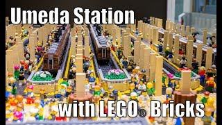 Huge Train Station MOC with LEGO Bricks (Osaka) + Aquarium/Diorama