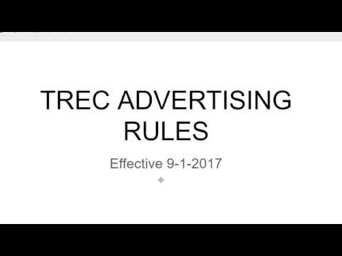TREC ADVERTISING RULE CHANGES