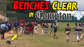 BENCHES CLEAR IN COMPTON!! (IRL Baseball Gameday)
