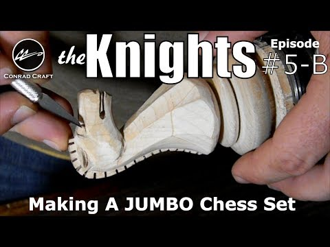 Making a Giant Chess Set episode 5B knights. Carving the details. Conrad Craft