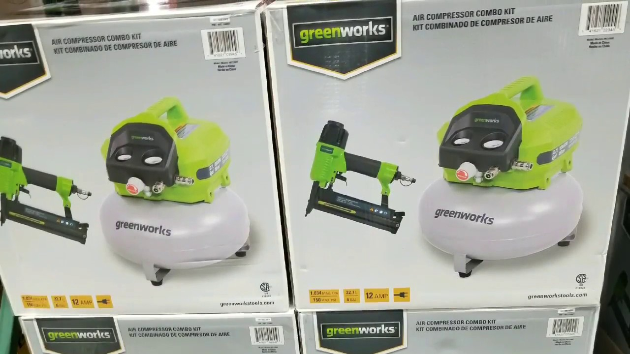 Costco! GREENWORKS Air Compressor & Nailer Combo Set! $99!!! - YouTube