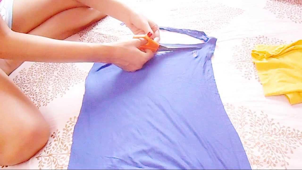 DIY: Old T-Shirt Into Hot Fringe Skirt / How To Make Skirt ...