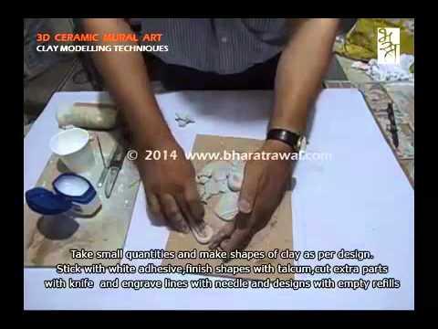 3d ceramic mural art ganesha youtube for Clay mural making