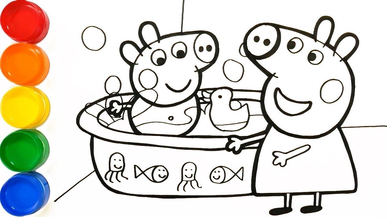 Como Dibujar Y Pintar Peppa Pig Banando A George Aprende Colores