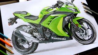 Desenhando uma Moto Kawasaki Ninja / Drawing a motorcycle