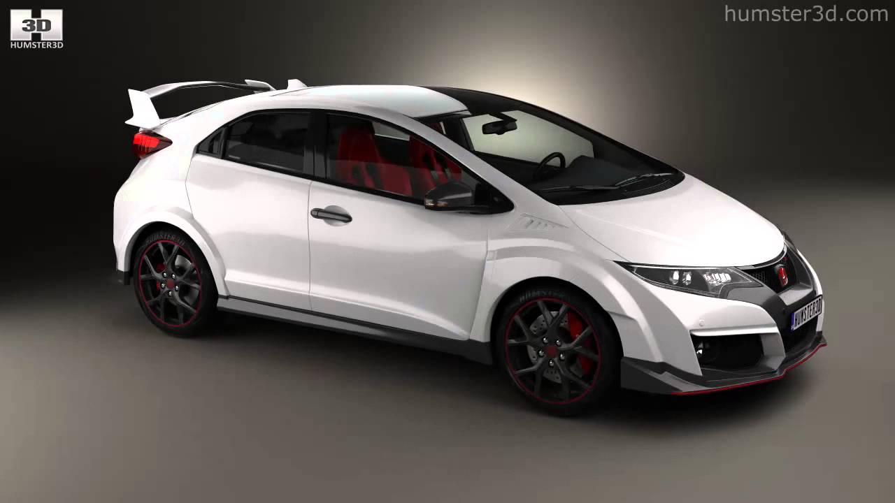 Honda civic type r hatchback 2015 by 3d model store for 2015 honda civic models
