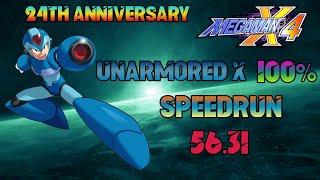 MegaMan X4: Unarmored X 100% SPEEDRUN in 56.31 (24th Anniversary)
