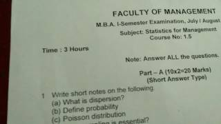 Statistics for management MBA question paper
