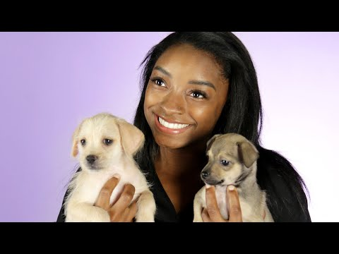 Simone Biles Plays With Puppies While Answering Fan Questions