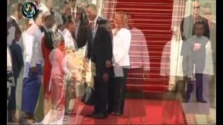 Obama arrives in Rangoon
