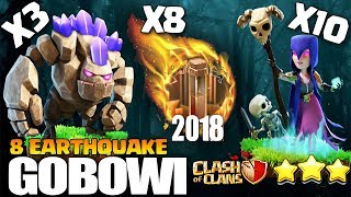 GiveAway + 8 EARTHQUAKE+10 WITCH : GOBOWI/GOWIWI | TH9 NEW WAR ATTACK STRATEGY 2018 | Clash of Clans