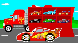 mcqueen cars transportation in mack truck cartoon for kids colors for children learn numbers