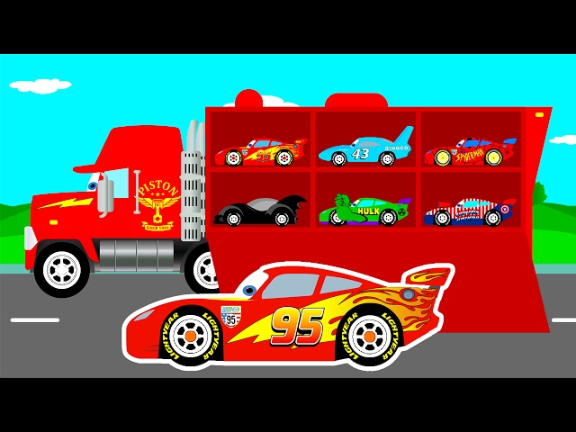 MCQUEEN CARS Transportation in Mack Truck Cartoon for Kids & Colors for Children Learn Numbers