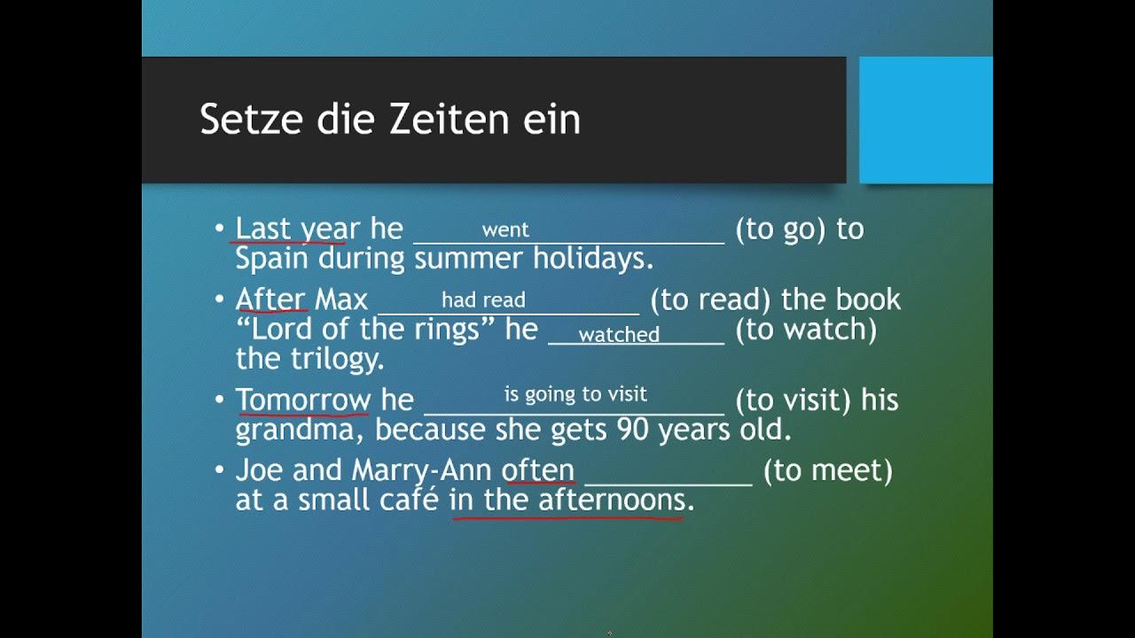 Englisch übungen Verschiedene Zeiten Einsetzen