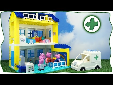 Peppa Pig. The construction of the hospital and the story of the heroes of the cartoon