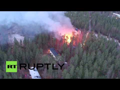 Drone footage: Would-be refugee center ablaze after suspected arson attack in Finland