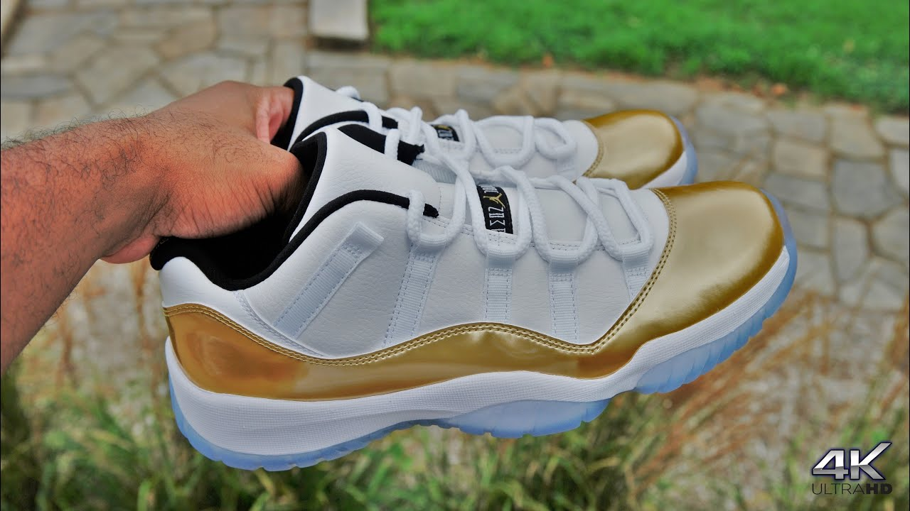 00c44be8c9c ... sale air jordan 11 low gold closing ceremony scoop208 jumpman23 youtube  c9610 edb43