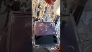 갤럭시z플립3라벤더 제트플립 나비 스트랩 케이스 영롱 …