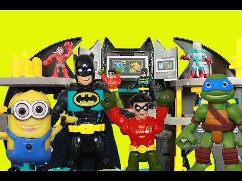 Batman Batcave Imaginext Toys TMNT Minion Dave Super Friends Batman Robin Bat Cave Motorcycle  Video