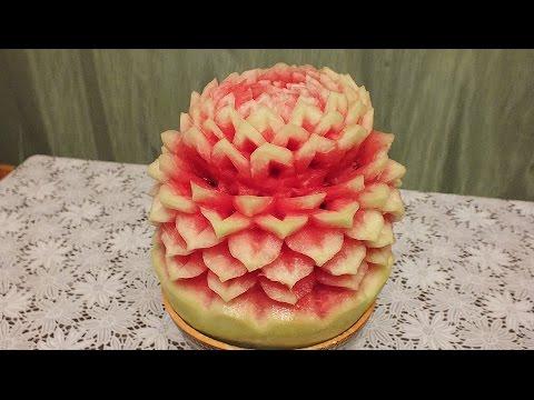 Карвинг из овощей и фруктов на арбузе carving of fruits and vegetables
