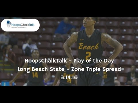 Long Beach State Zone Triple Spread - HoopsChalkTalk POTD - 3.14.16