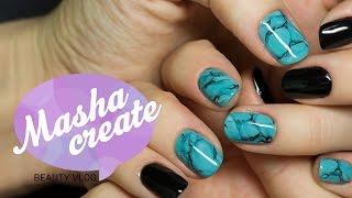 Дизайн ногтей: текстура бирюзы гель лаком