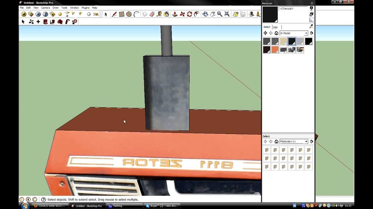 Google sketchup 8 pro modeling tractor youtube for Mobilia sketchup 8