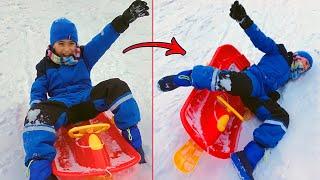 جربنا التزلج على الثلج ❄️ (وقع بسبب التهور 😰)