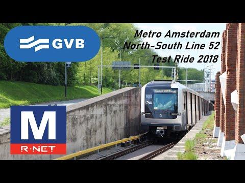 🚇 Amsterdam Metro 52 Testrit / Test Ride 🚇 Noord Zuidlijn / North South Line