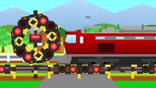 変形する踏切カンカンと貨物列車