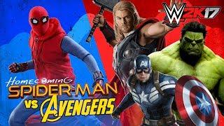 WWE 2k17 Team Spiderman Homecoming vs Avengers Captain America Hulk & Thor by KIDCITY