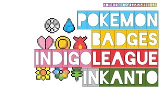 how to draw pokemon badges kanto indigo league nintendo | doodle perler beads | drawpixelart