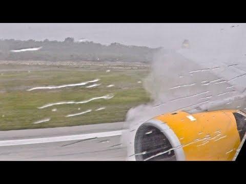 Thomas Cook A330-200 Incredible Extreme Spray Landing at Holguin, Cuba during Torrential Rain
