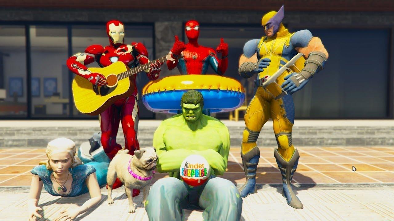 Человек-паук и его друзья Халк и Замороженные Эльза и ...