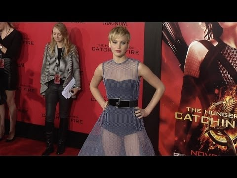 """Jennifer Lawrence In Bodysuit Dress """"The Hunger Games: Catching Fire"""" Los Angeles Premiere"""