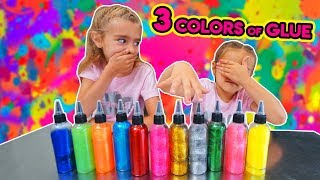 3 COLORS of GLUE SLIME CHALLENGE  3 COLORES DE COLA PARA SLIME!! Las Ratitas SaneuB