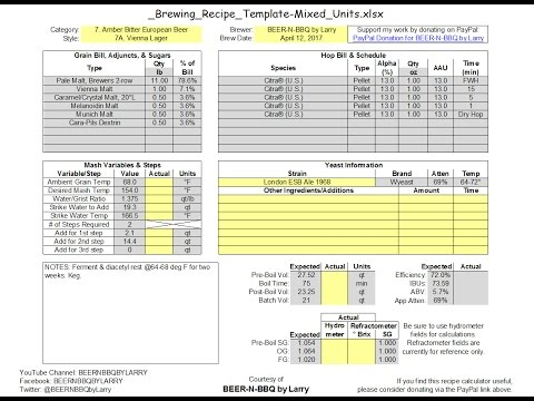 Brewing Recipe Calculator Template 2 0 Update: Overview, Deep Dive, &  Walkthrough Example