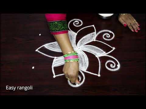 easy rangoli designs with 5 dots for beginners - simple kolam with dots - muggulu rangavalli design