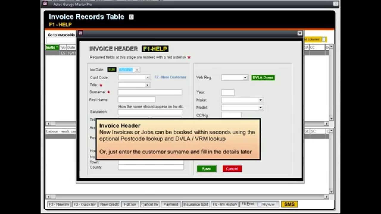 Aztec Garage Master Pro Video YouTube - Garage invoice system