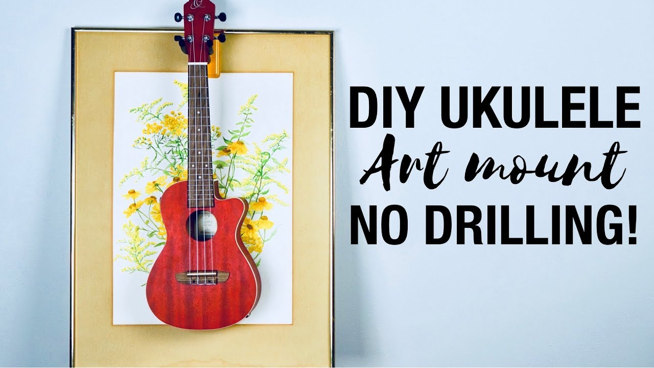 diy ukulele wall mount alternative no holes in your wall youtube. Black Bedroom Furniture Sets. Home Design Ideas