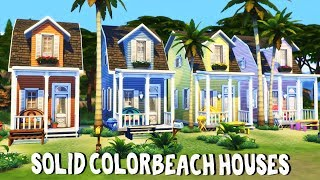 Solid Color Beach Houses || The Sims 4: Speed Build