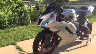 2007 Zx6r Two Bros Exhaust .. REV LIMITER FLAMES