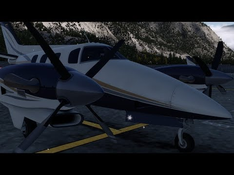 P3Dv4.1 Turbine Duke V2 Flying in Snowy Cloudy British Columbia