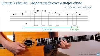Django Reinhardt lick #2 : dorian mode over a major chord (or a blues or rhythm changes)