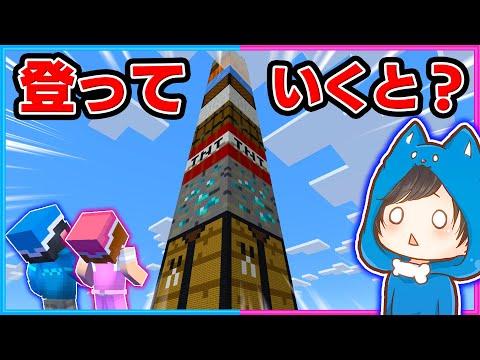 巨大ブロックタワーに登った結果!?【マイクラ/まいくら】